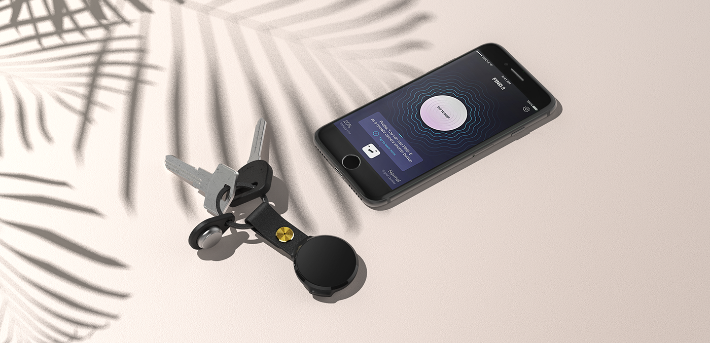 camera shutter button device Accessory keychain Aiia product tracker bluetooth design application