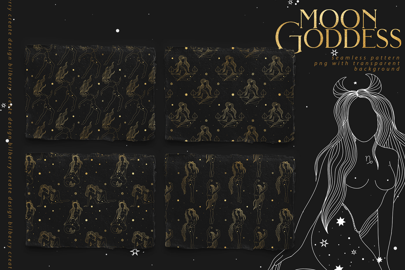 branding  constellation goddess logo moon shine stars Stars and Moon