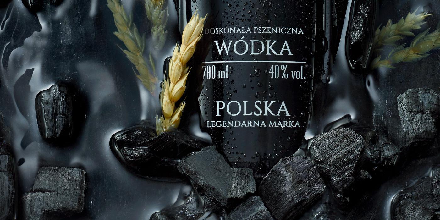 Vodka key visual postproduction premium charcoal water bottle oak alcohol campaign