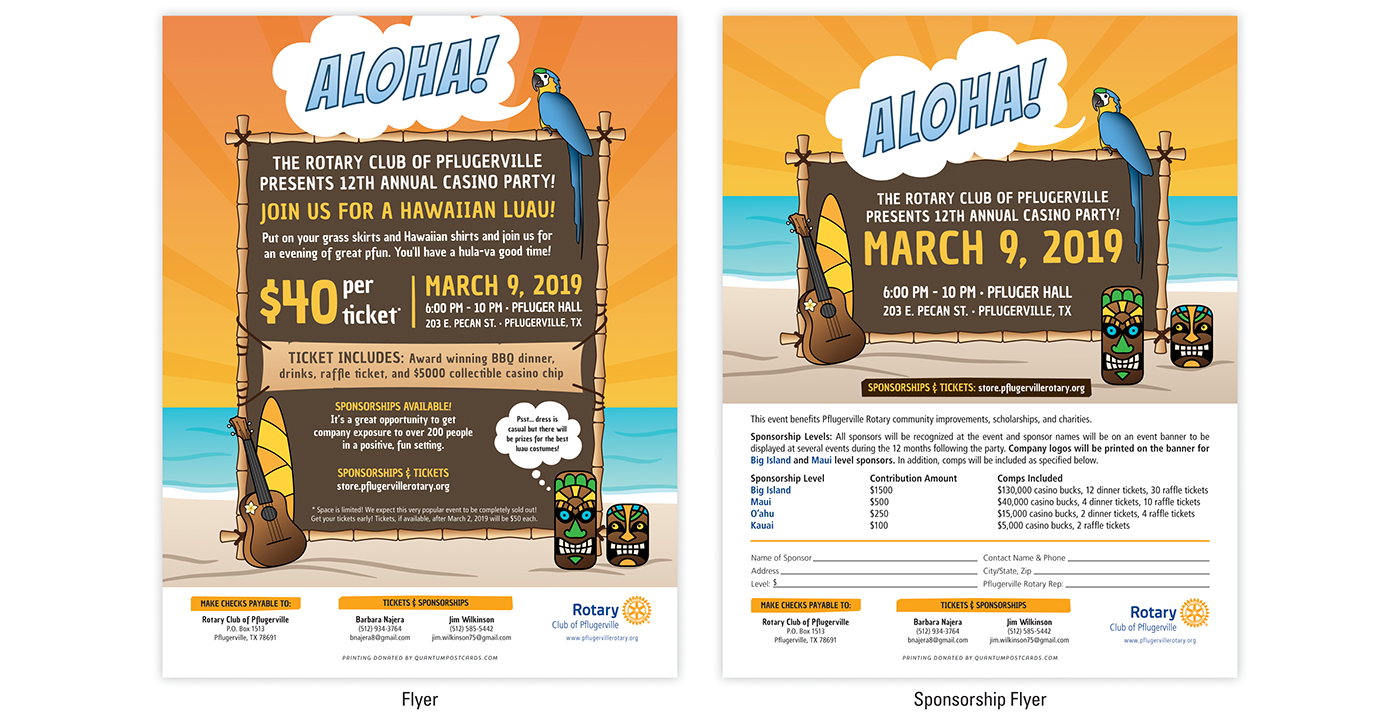 campaign tickets posters flyers poker chips ILLUSTRATION  Tiki Statues luau Hawaiian Design beach