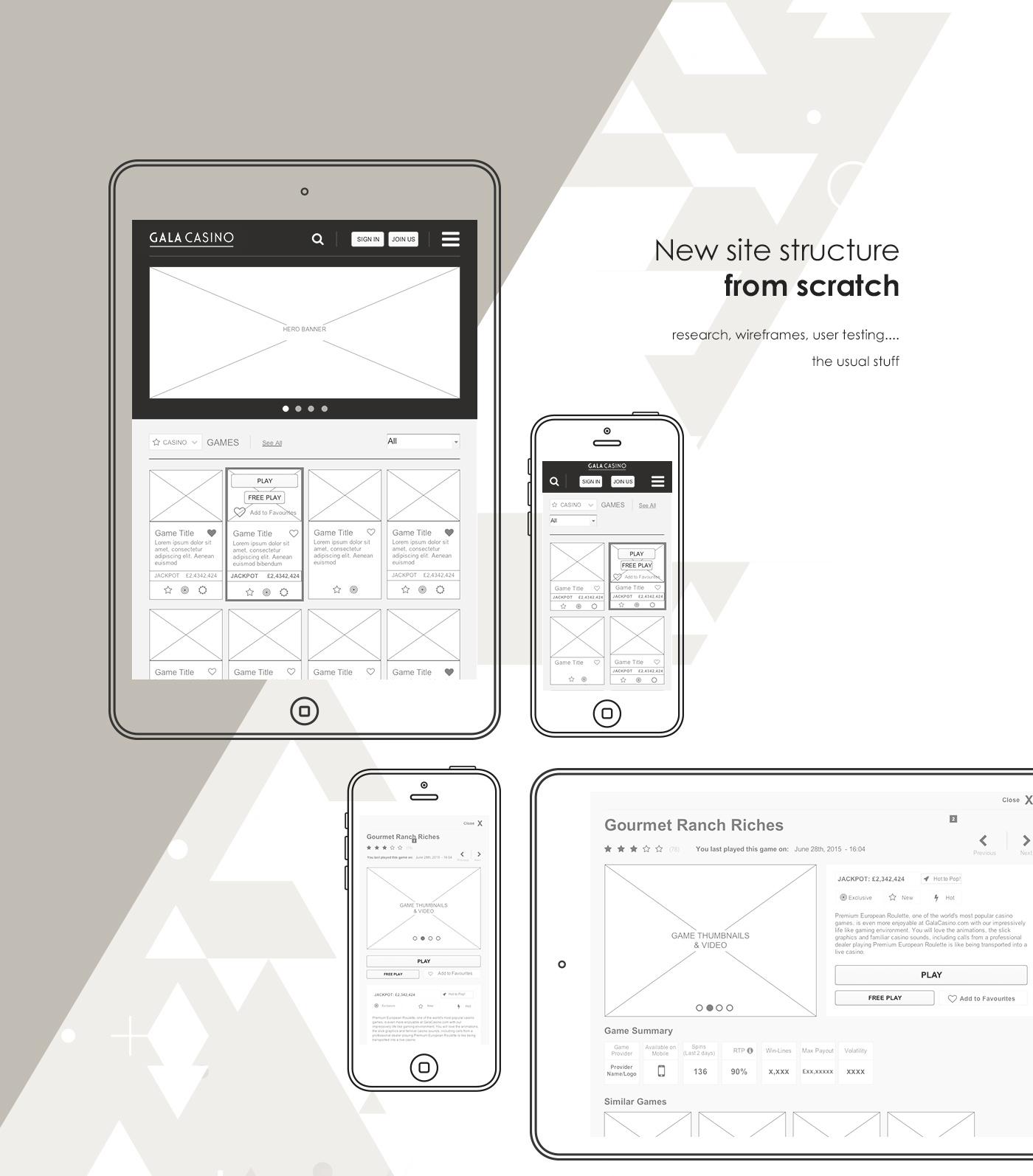 casino Responsive Website Gala gambling UI Gaming Adaptive mobile app