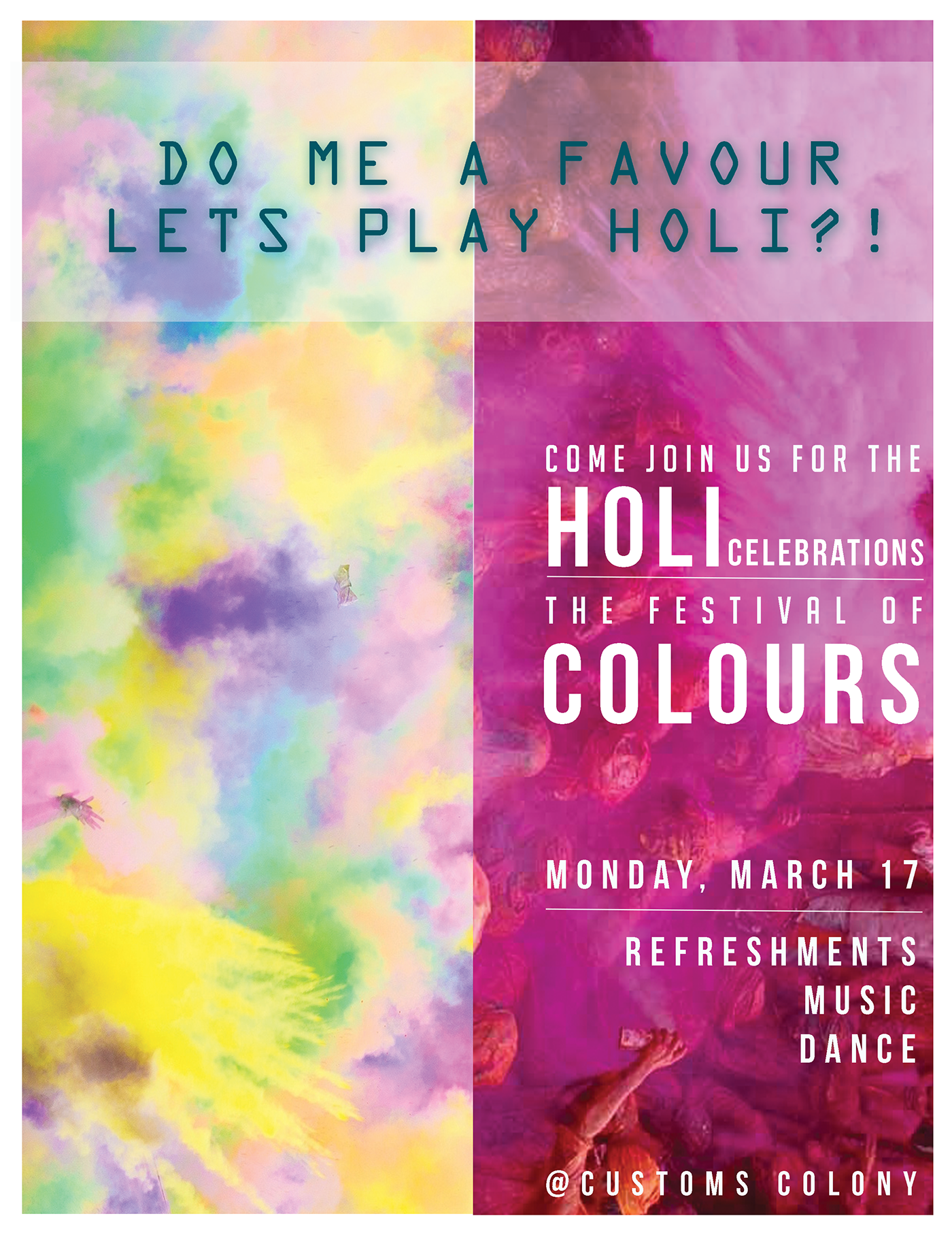 Poster Design (Holi Party Invite) on Behance