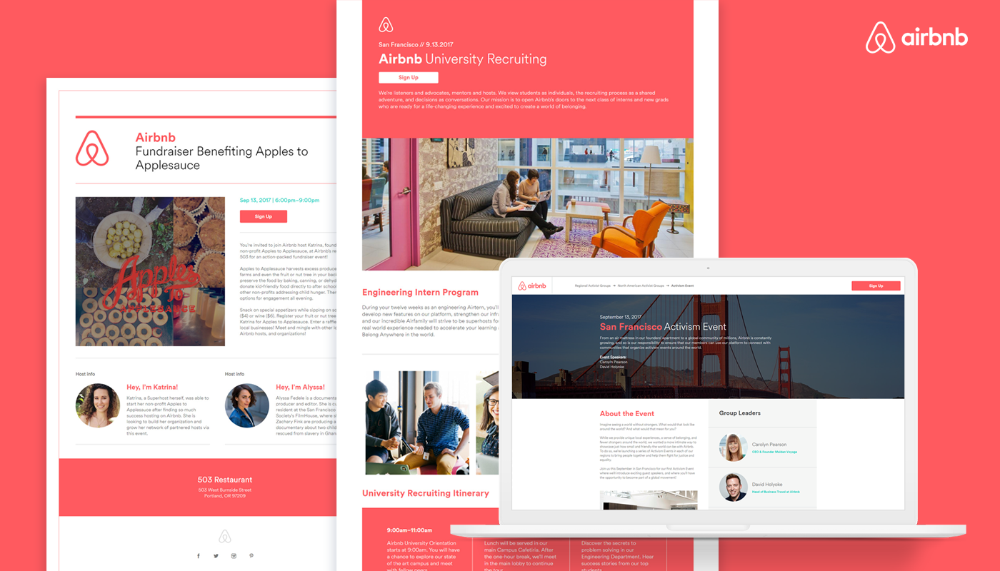 airbnb,graphic design ,Creative Direction ,fundraiser,recruiting events