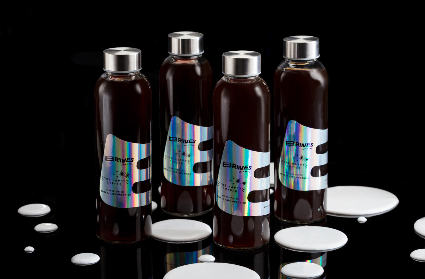 package branding  Coffee happy holographic Cold Brew Photography  ILLUSTRATION  logo Label