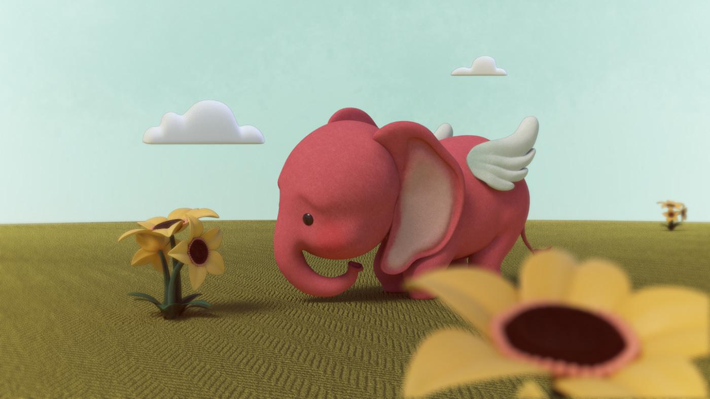 elephant pink wings dream girl pink elephant shortfilm Character Flowers sweet