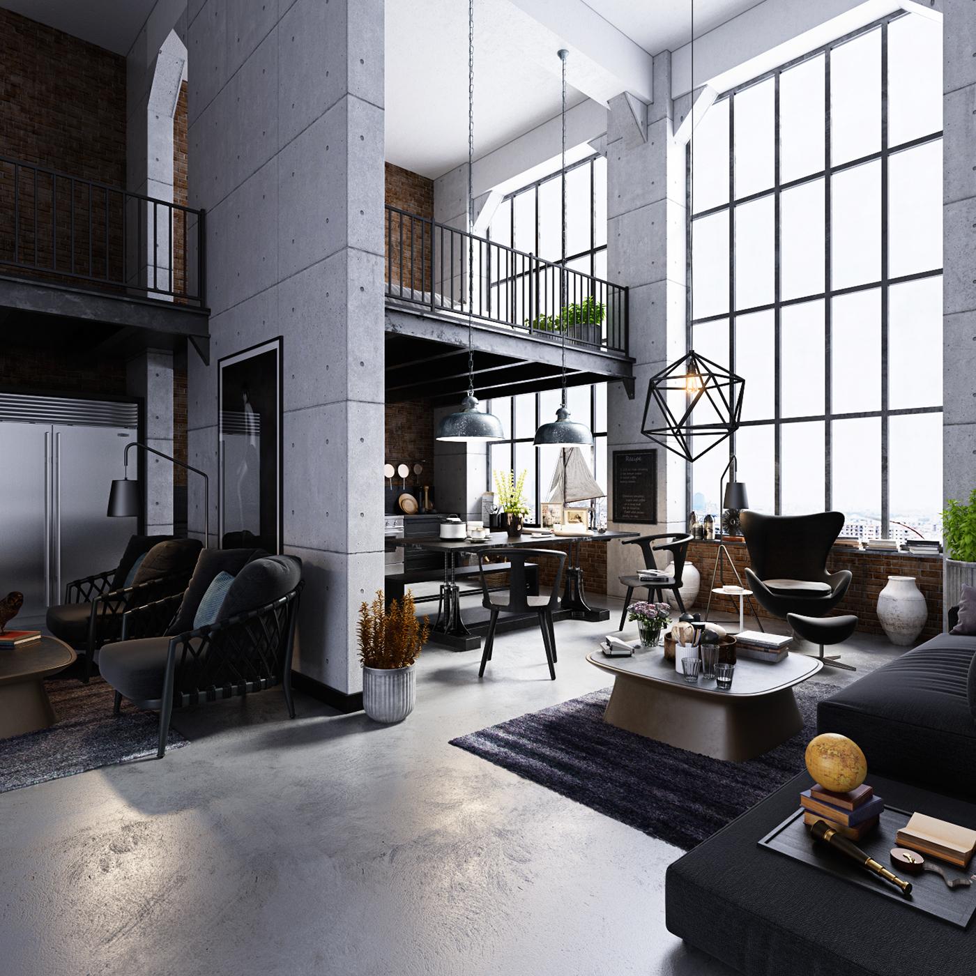 Studio loft apartment on Behance