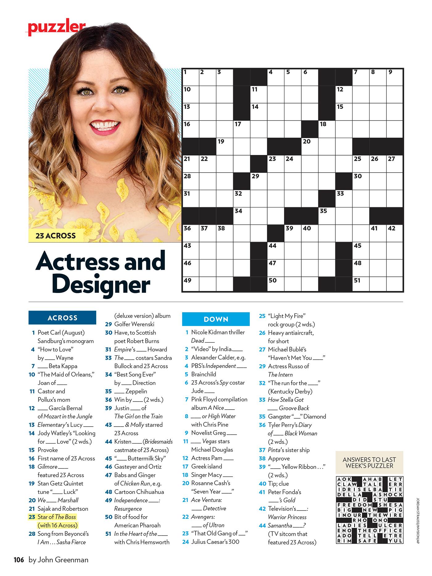 Peoples Magazine Crossword Puzzles
