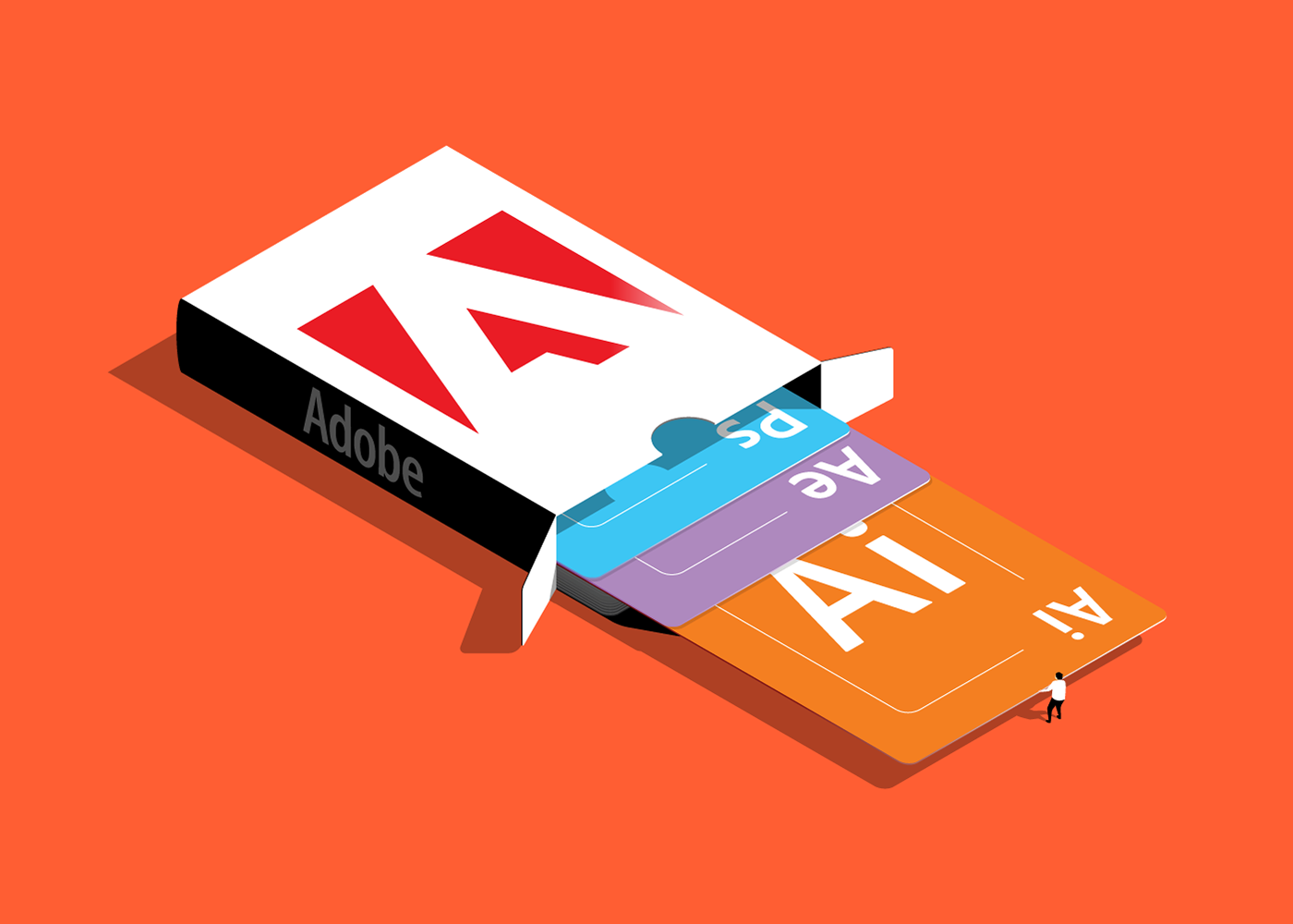 The Adobe Playing Card Deck vector isometric illustration