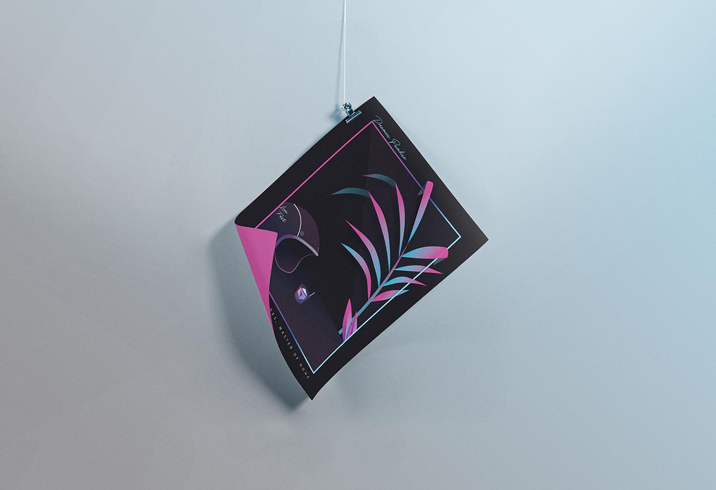 colorful dark vector art plants story Beach house master of none gradient poster cover photo design Illustrator moto motor cycle Helmet