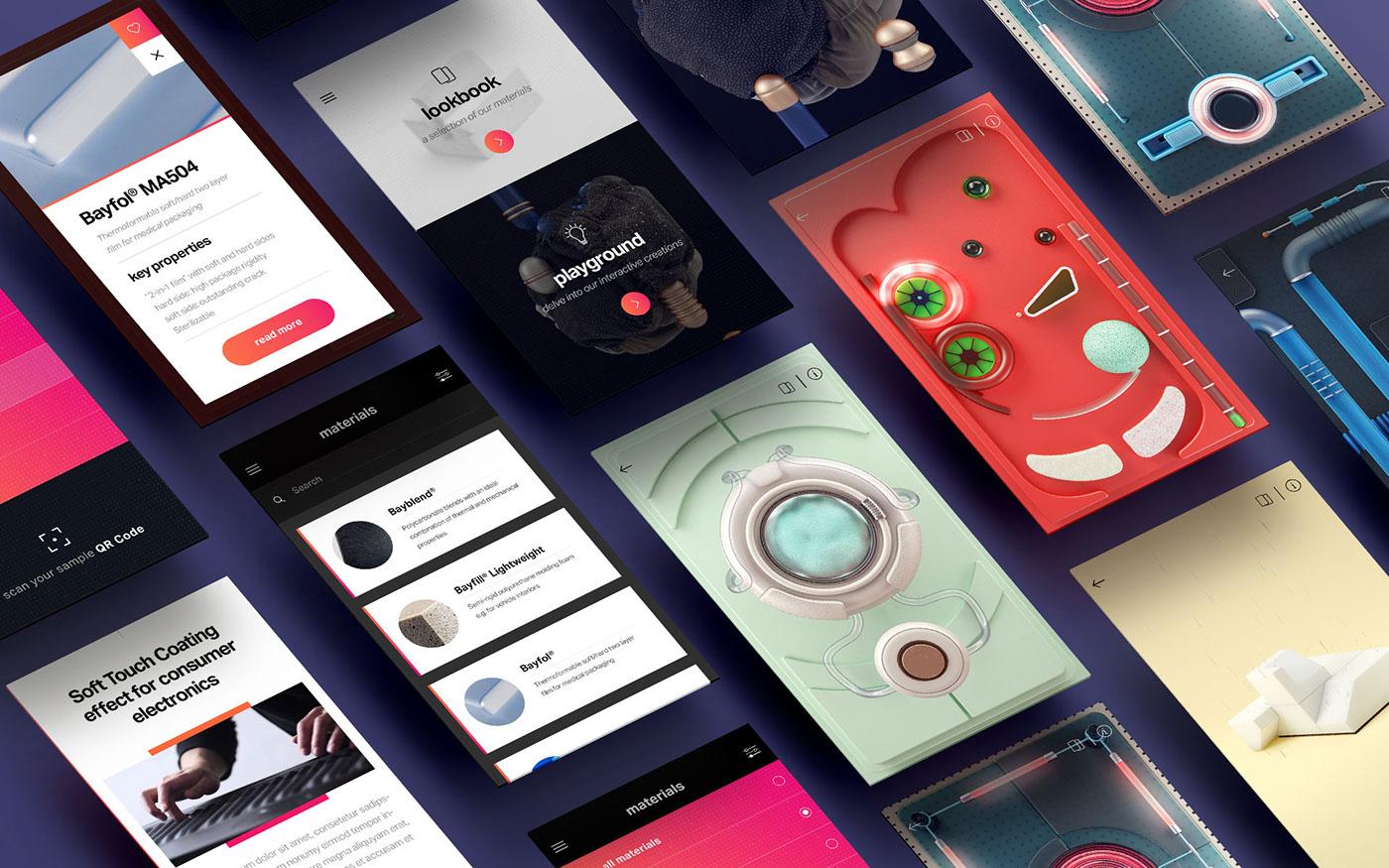COVESTRO app motion design CGI ux UI psd Interface material