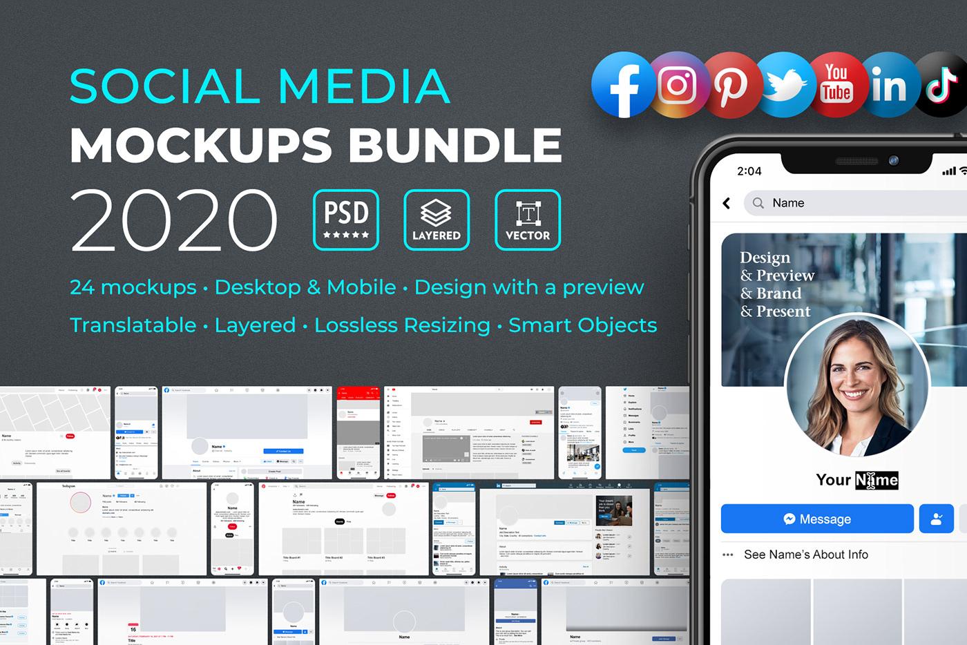 Free Facebook Profile Mockup 2020 - Photoshop Template on ...