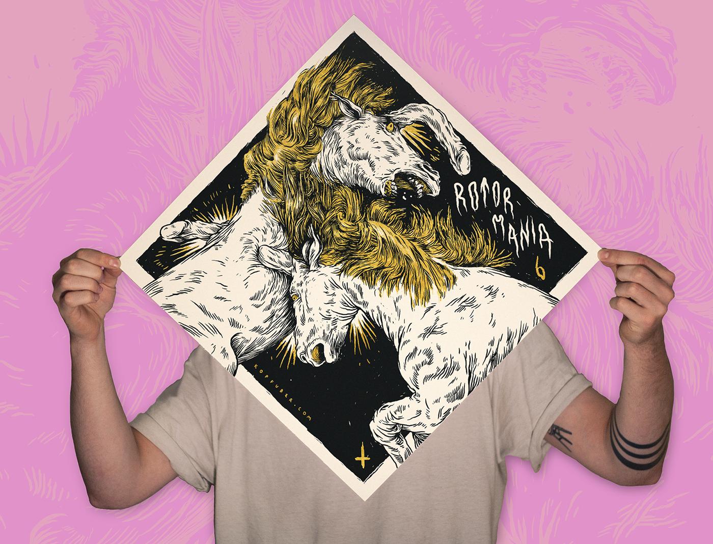 horse,unicorn,funny,band,psychedelic,festival,music,stoner,black & white,silkscreen