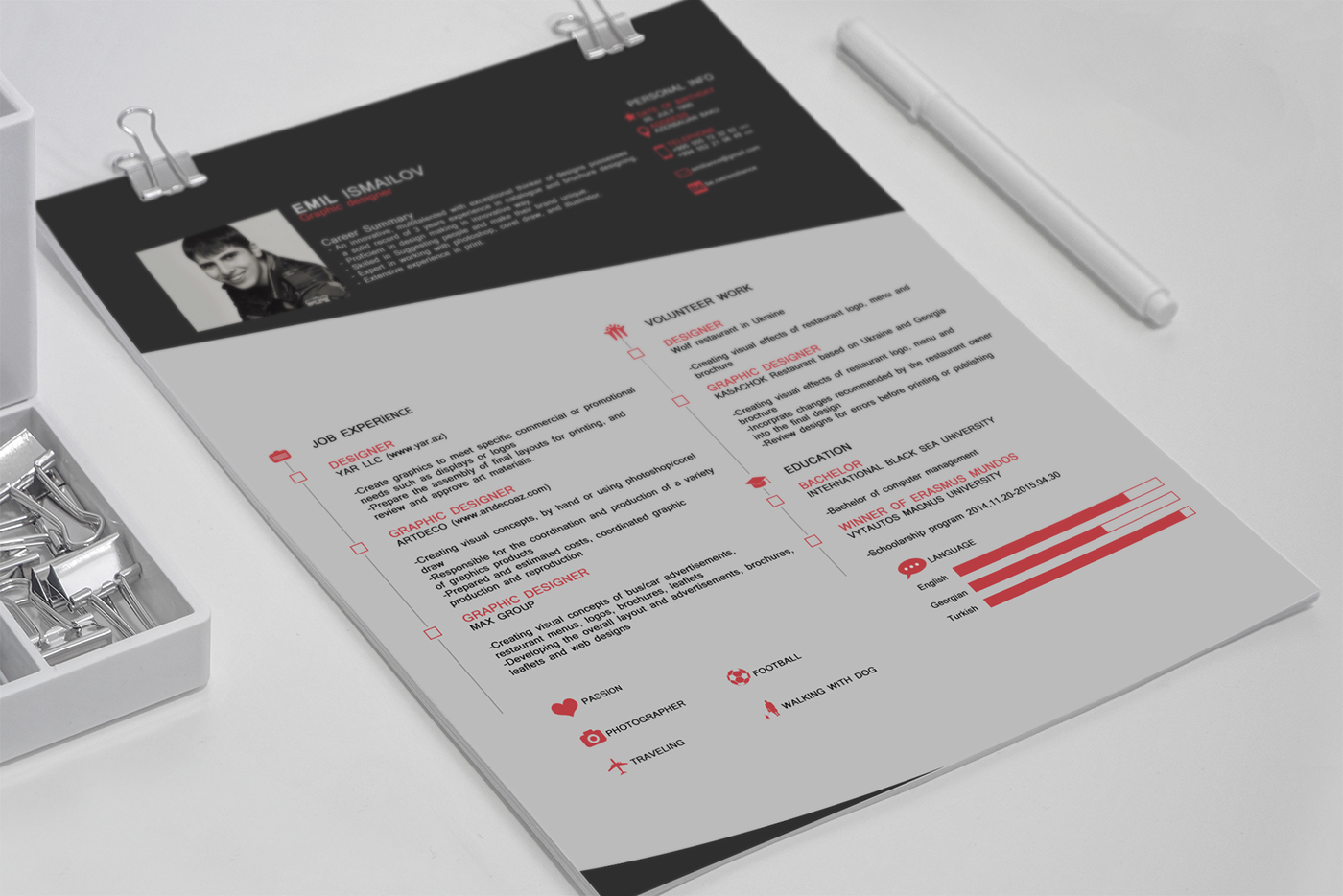 cv free resume template on behance - Resume Templates Graphic Design Free