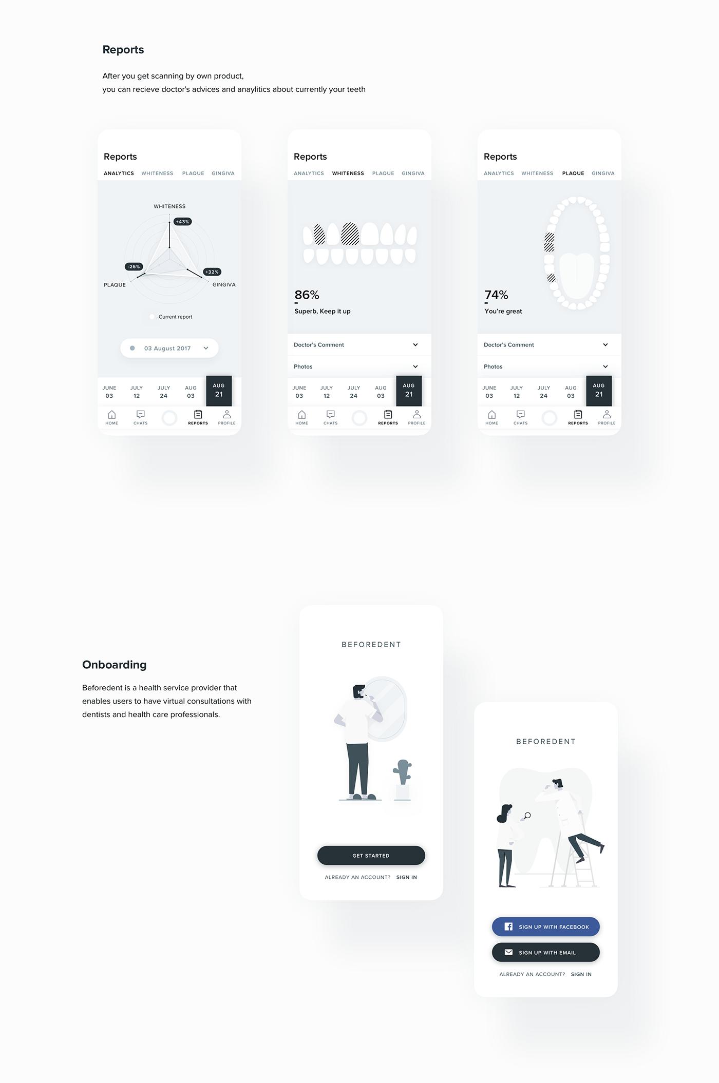 ui ux Mobile app app Interaction design  healthcare dental medical