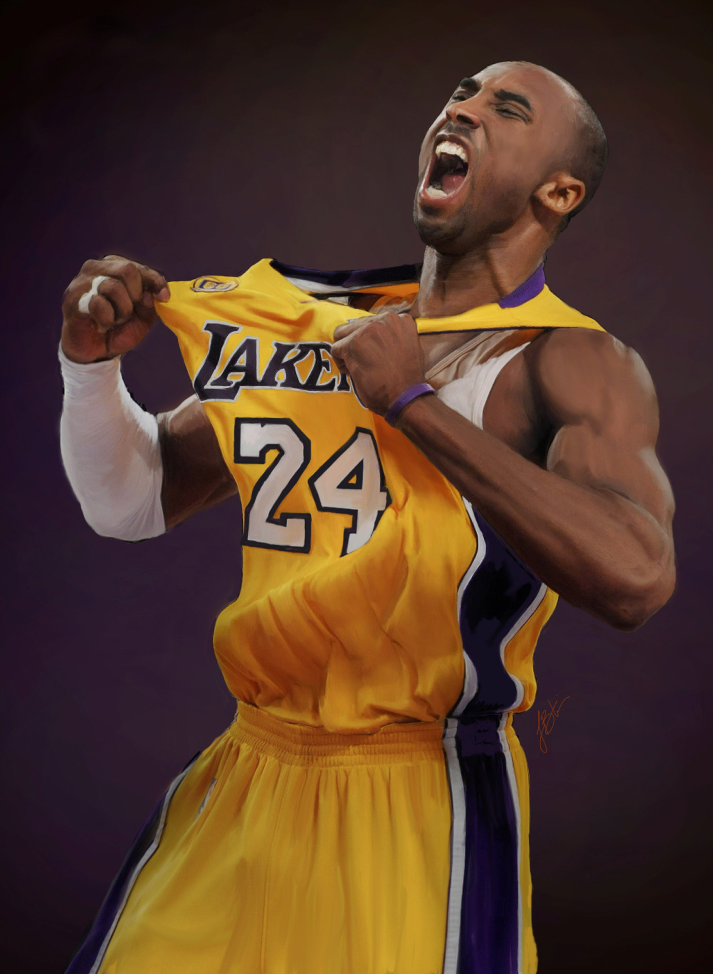 kobe bryant digital painting behance