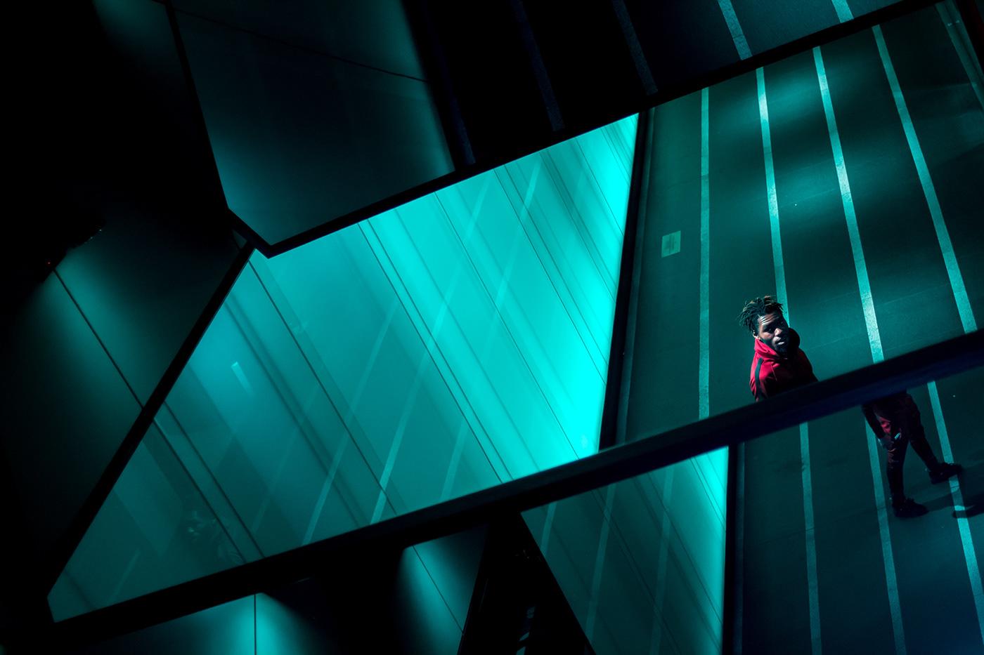 musician neon Cyberpunk Dystopian portrait neon portrait rapper London