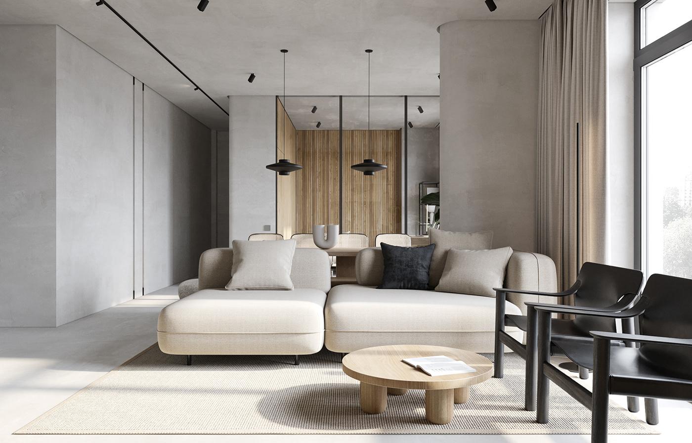 apartments cream flat Interior microcement rattan
