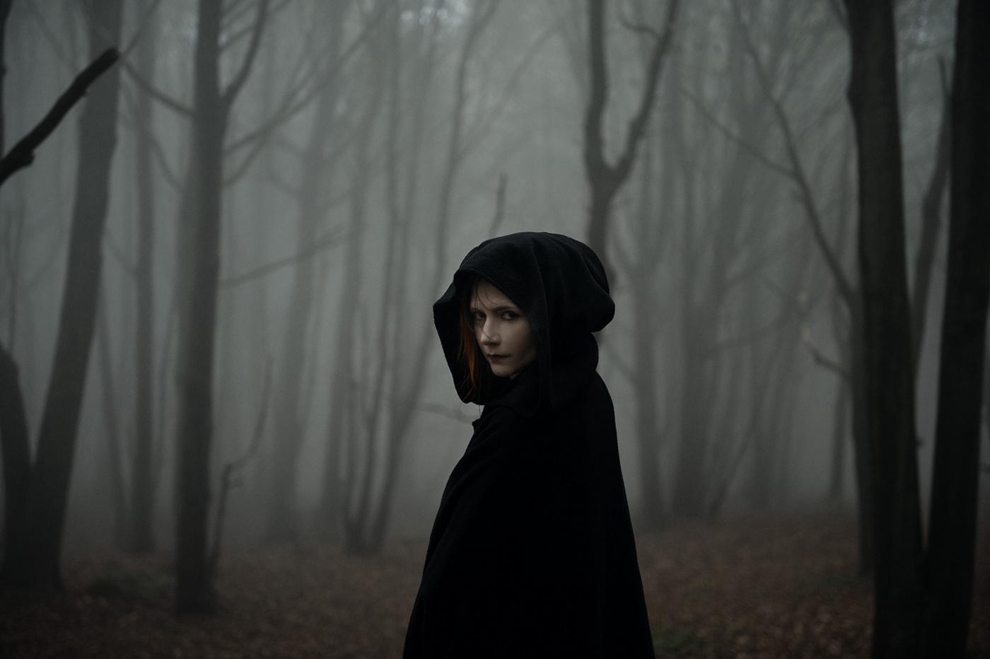 autumn wood fog dark darkness fear gothic black