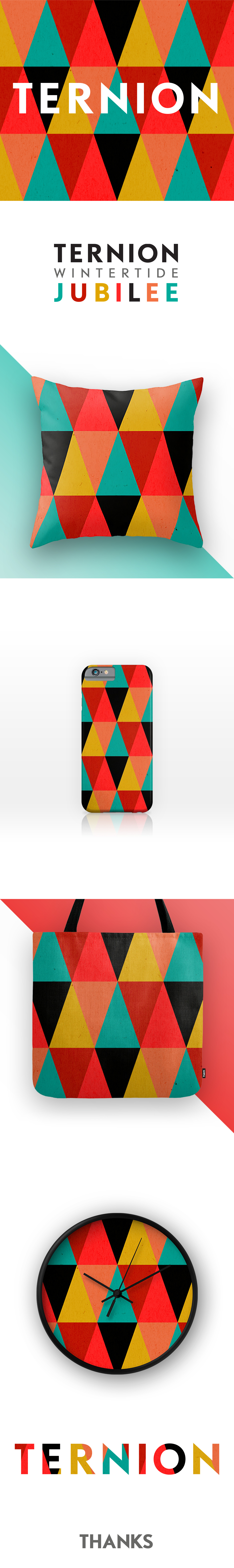 Triangles abstract surface design Tote bag phone case clock