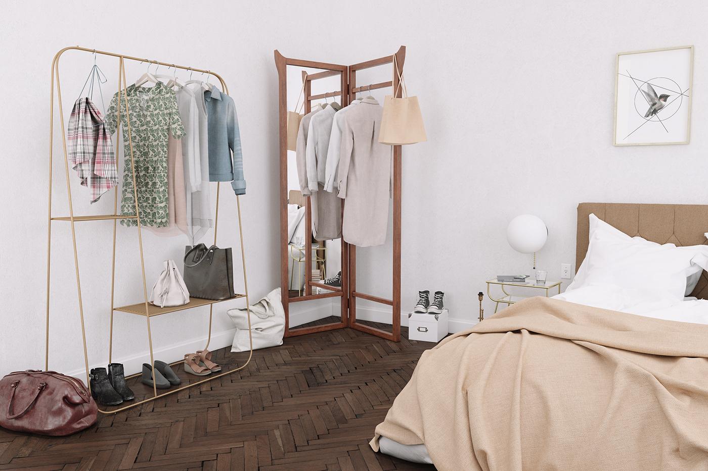 3D bed bedroom comfy Interior newyork penthouse Render wood