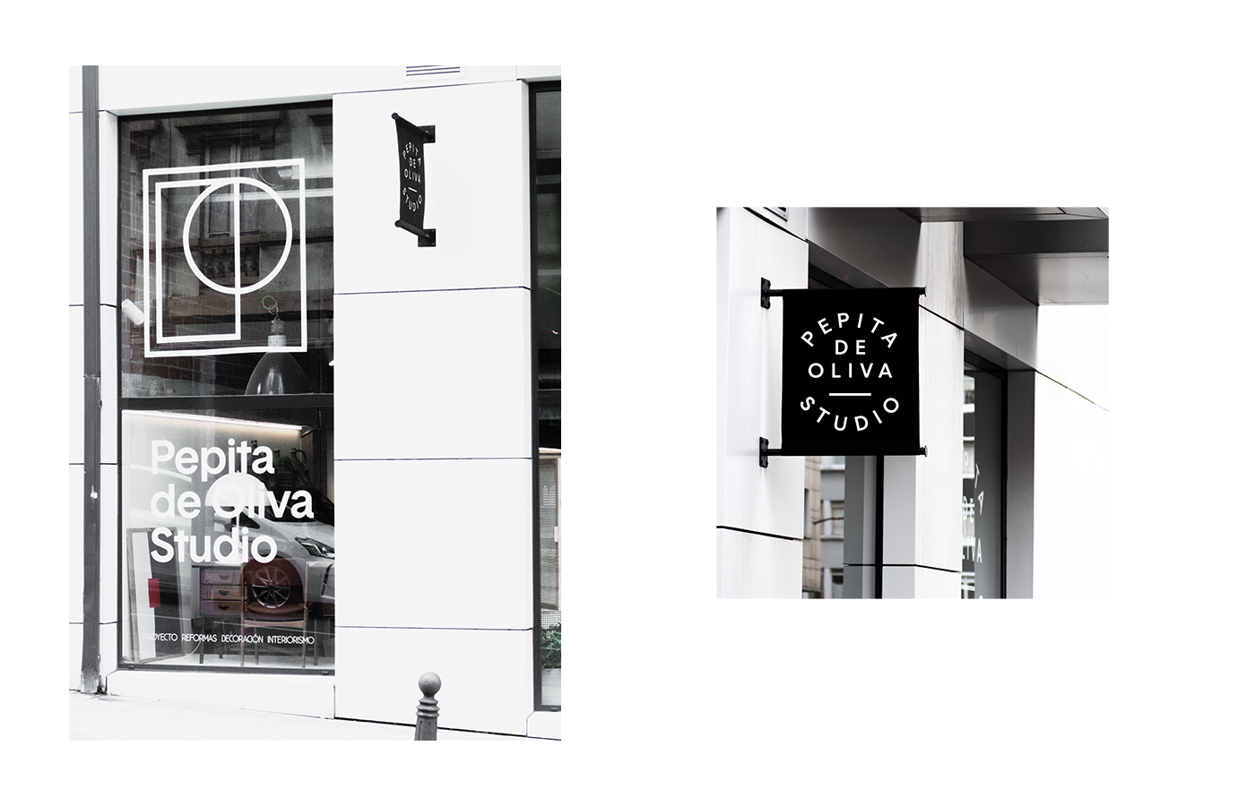 furniture architecture MID-CENTURY studio Branding Identity Stationery portfolio business card black & white poster
