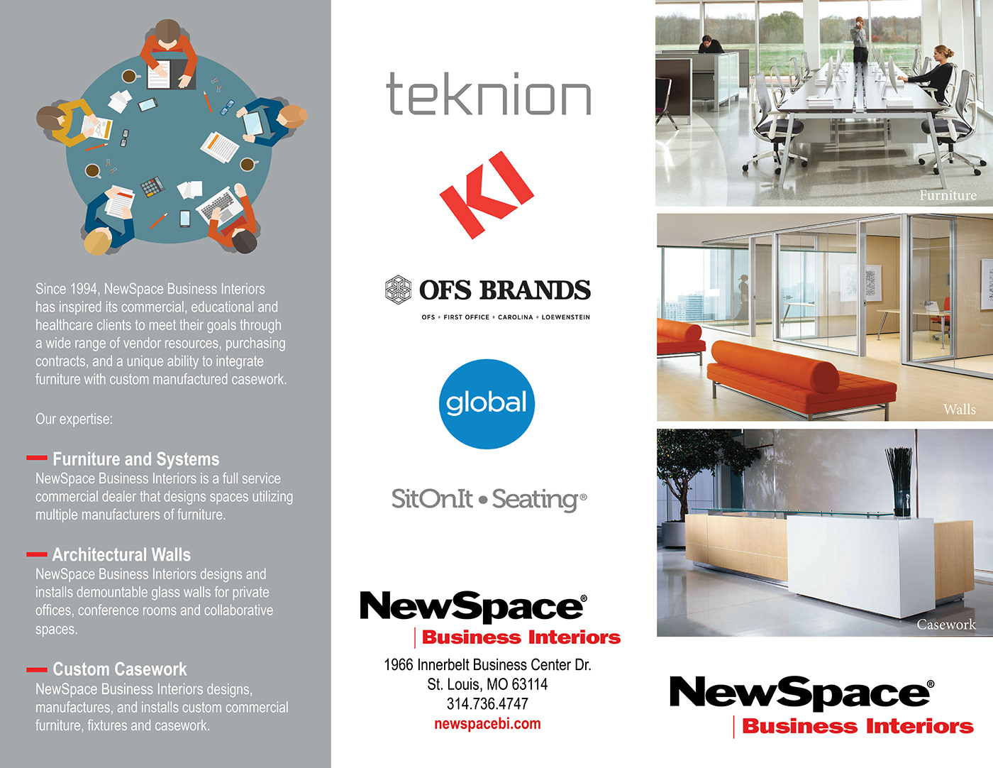 Tri-fold for NewSpace Business Interiors to showcase the work expertise of the company.