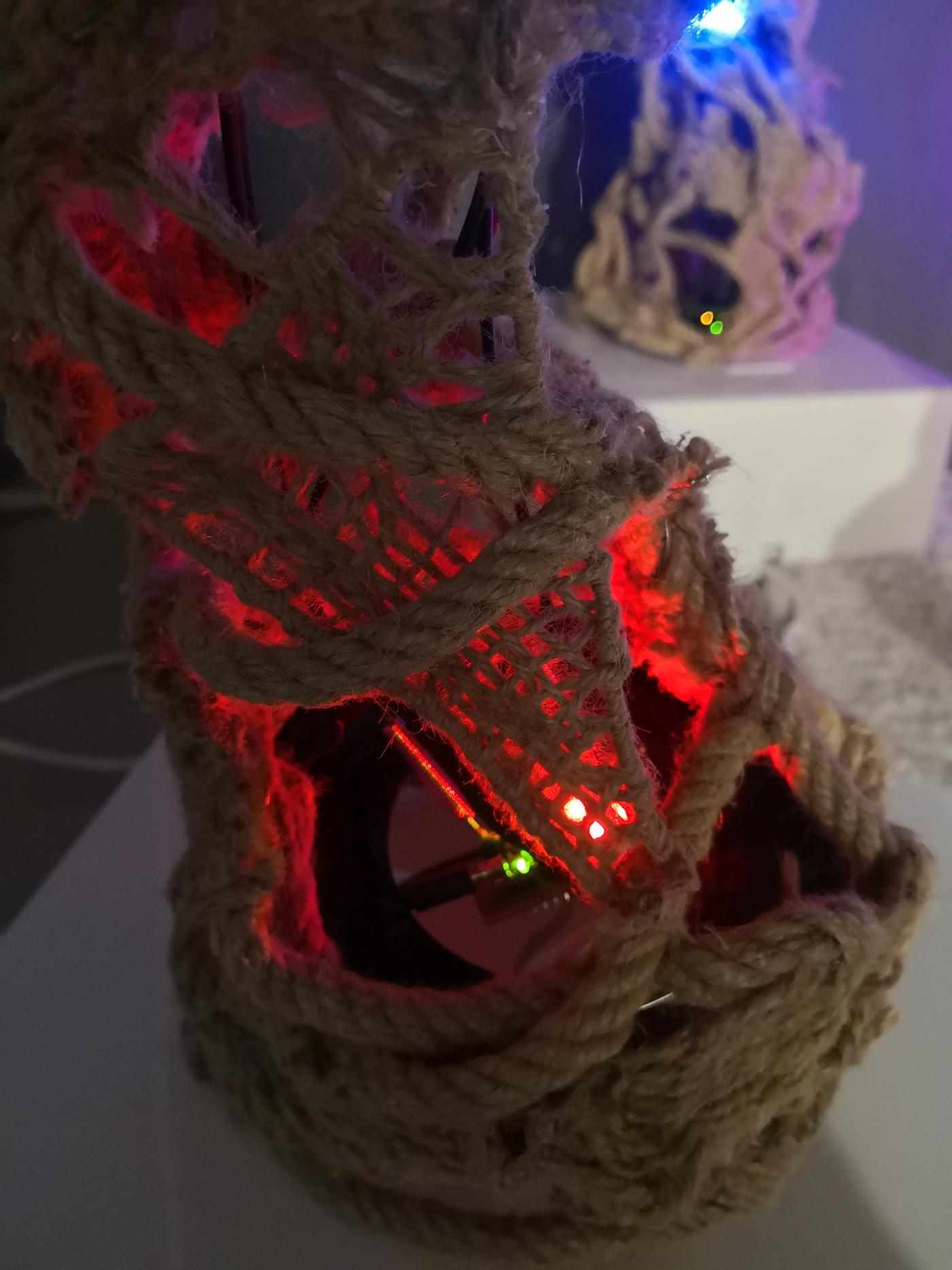 community lights interactive art textile rope Arduino Sensors