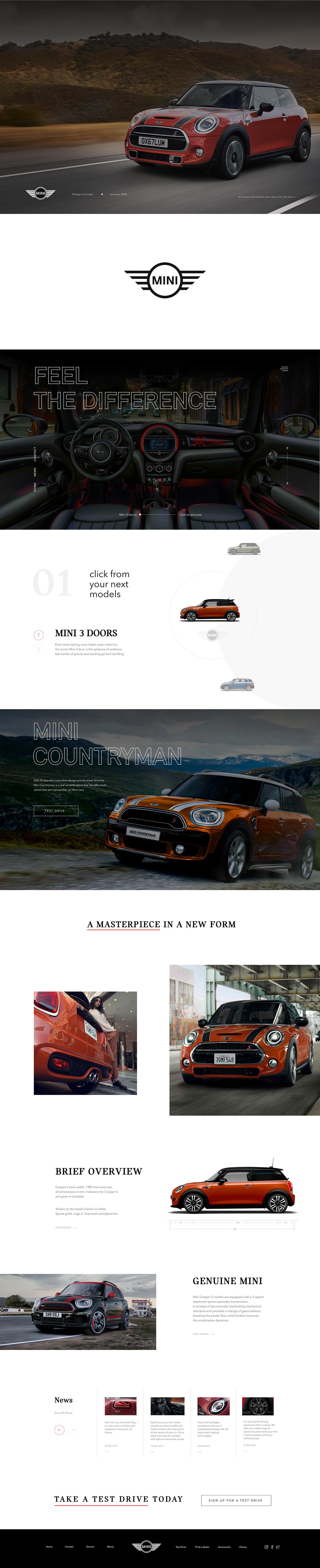 Web Design  MINI Cooper car UI ux