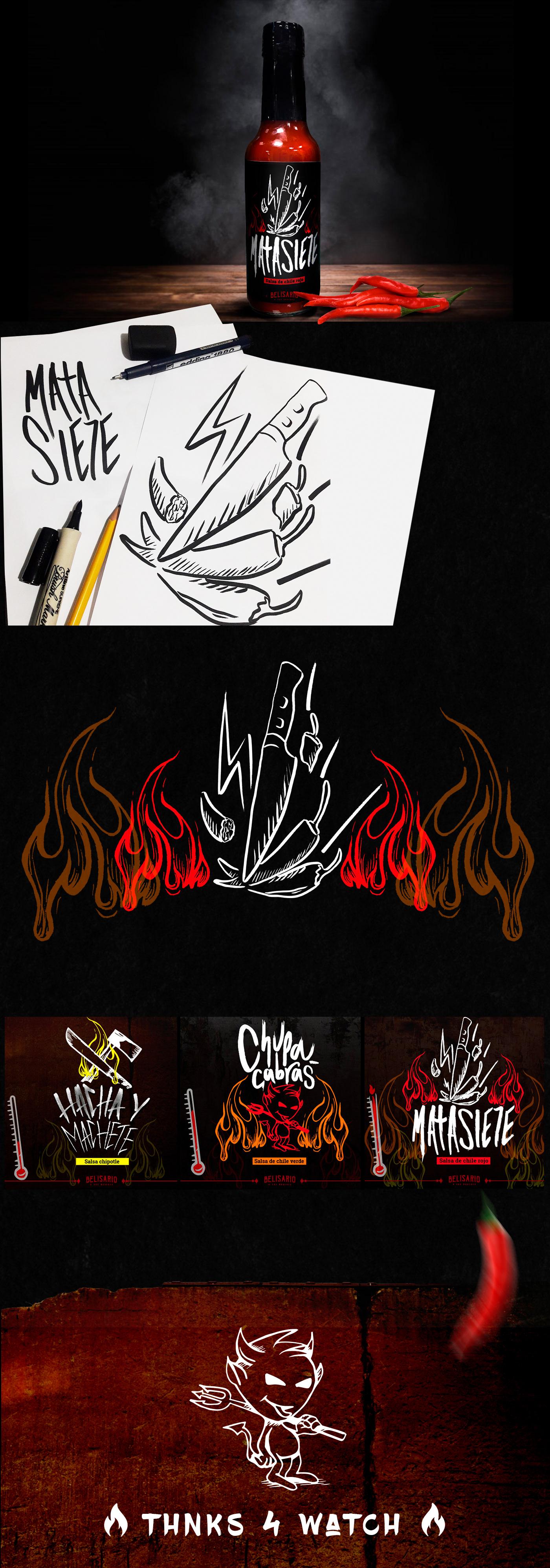 ilustracion etiquetas Label PICANTE Salsa Picante Chilli