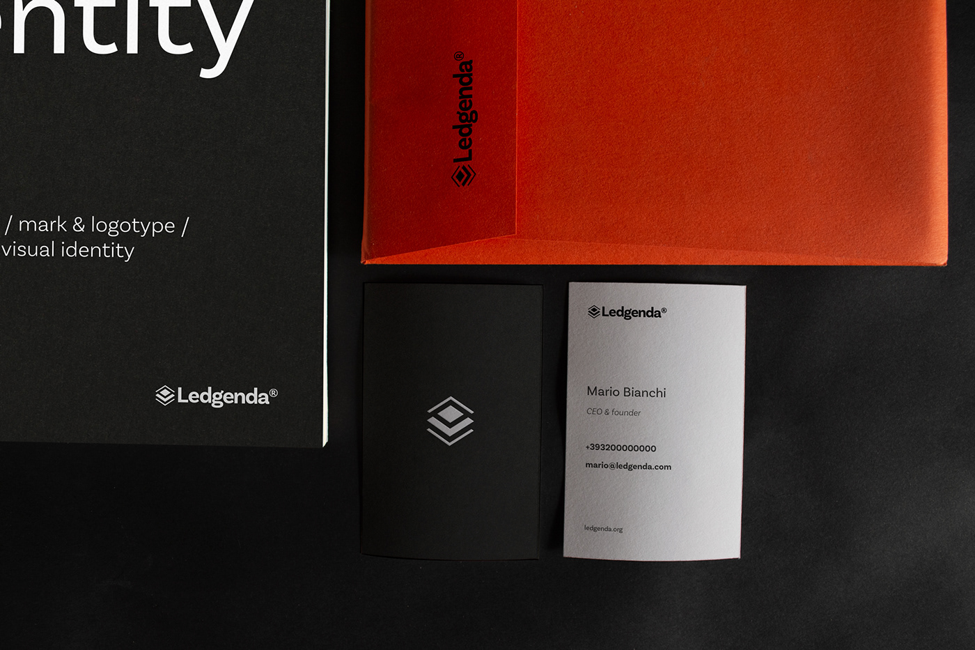 stationery items: brand book, envelope and business cards