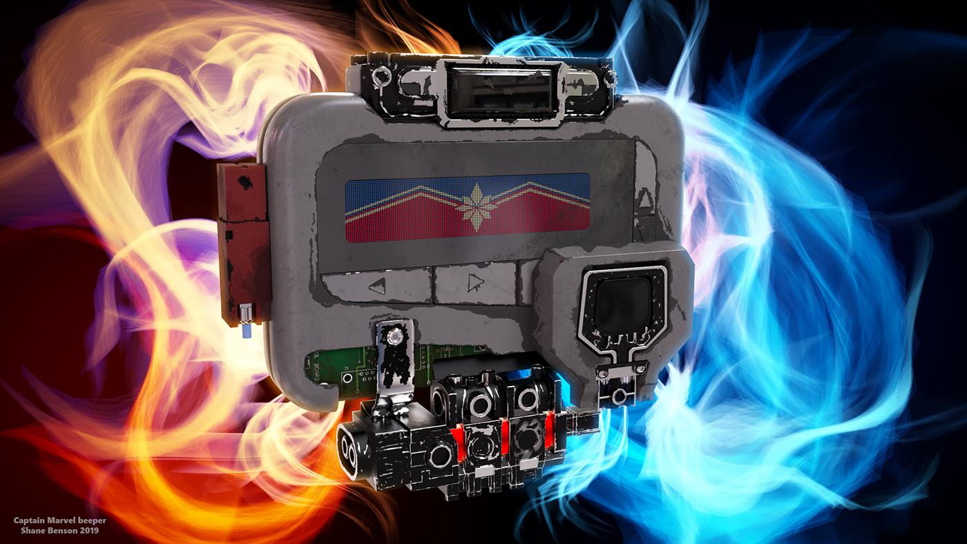 Captain Marvel marvel c4d cinema 4d beeper Avengers Infinity war Technology Film
