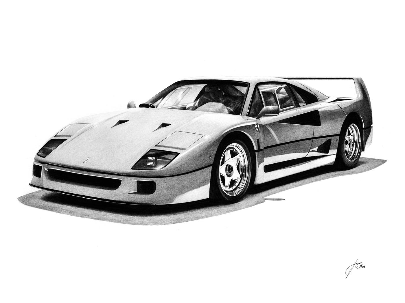 Ferrari F40 Realistic Drawing On Behance