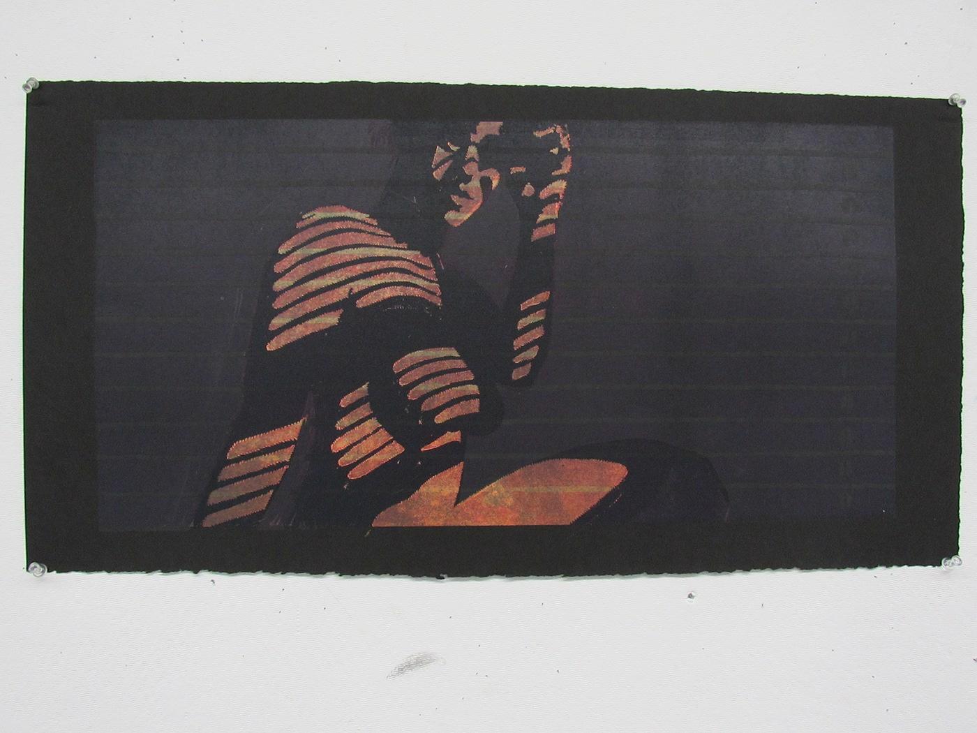 printmaking body light linocut