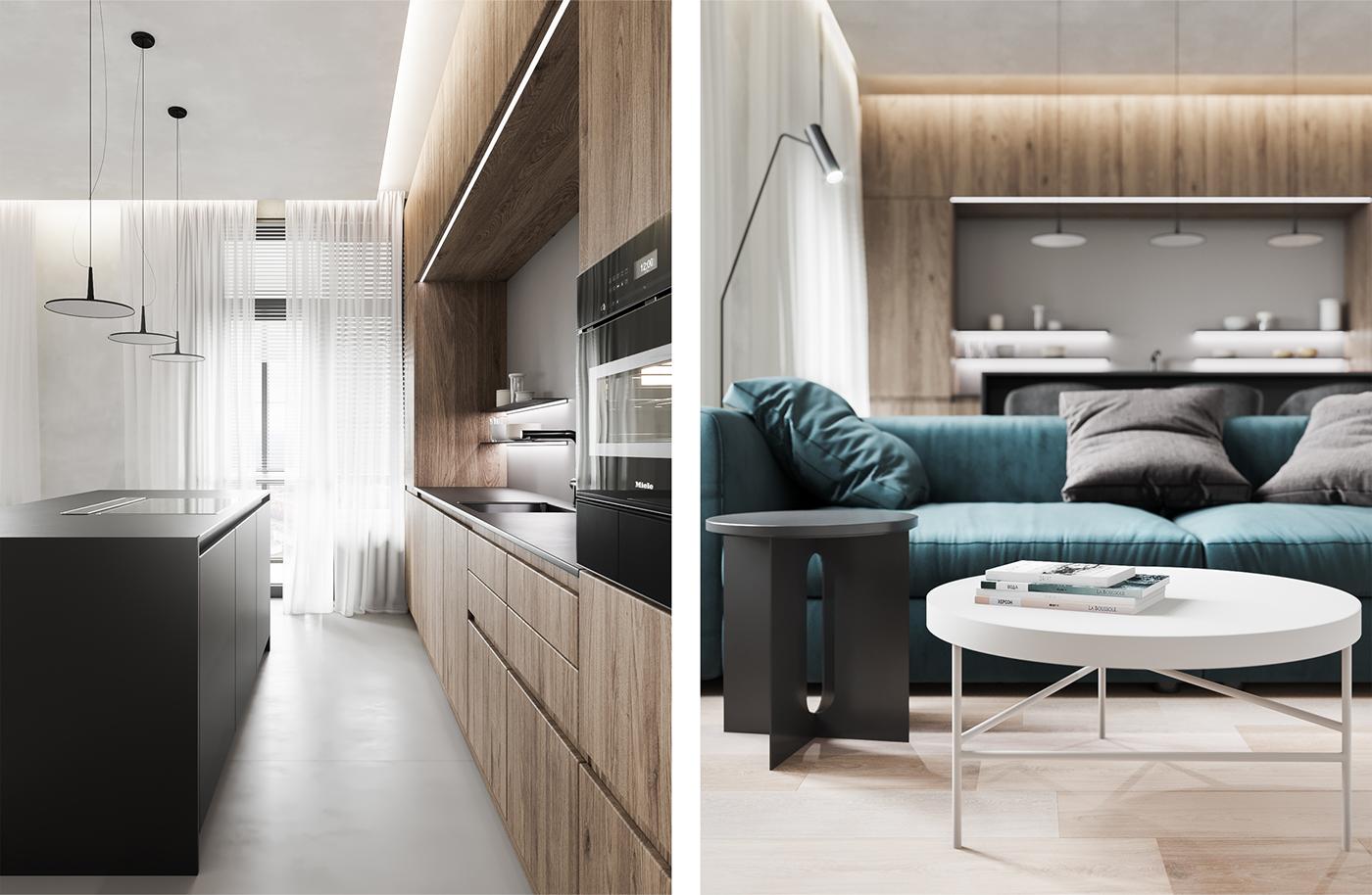 interior design  design architecture huge studio Moscow apartment Interiorm modern