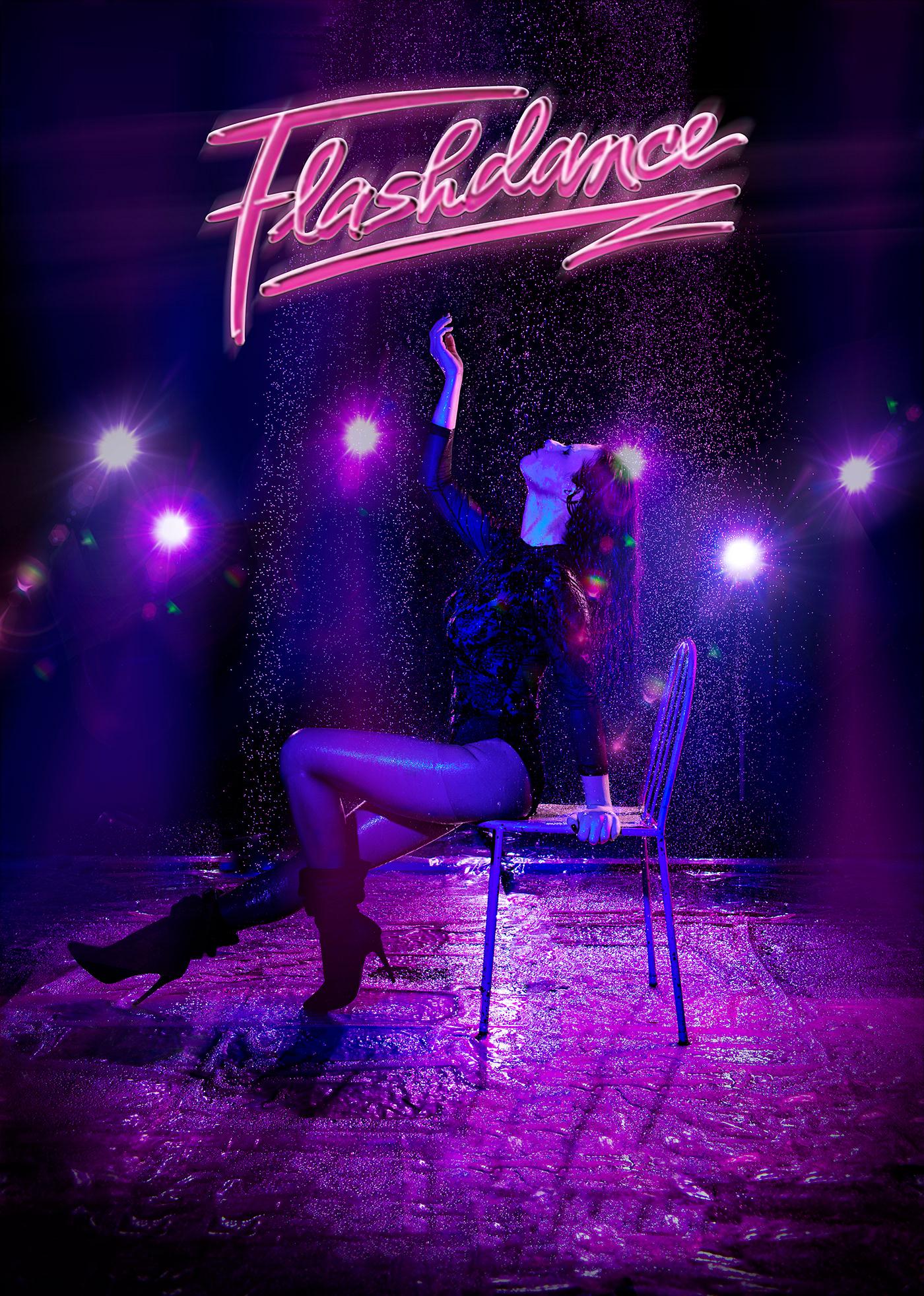 flashdance movie 80's Irene Cara student glow design Advertising  poster cine