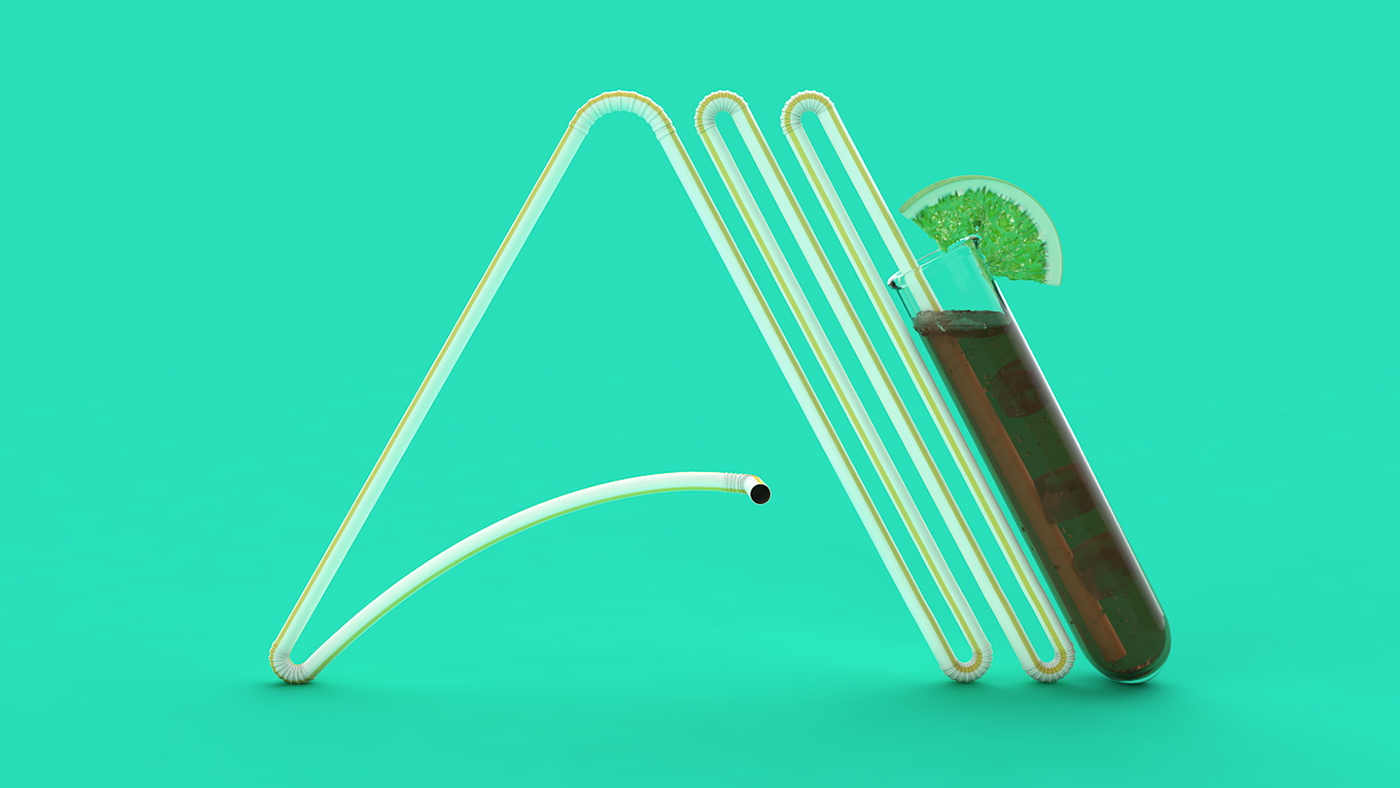font monolined VICE miami 3D ArtDirection design