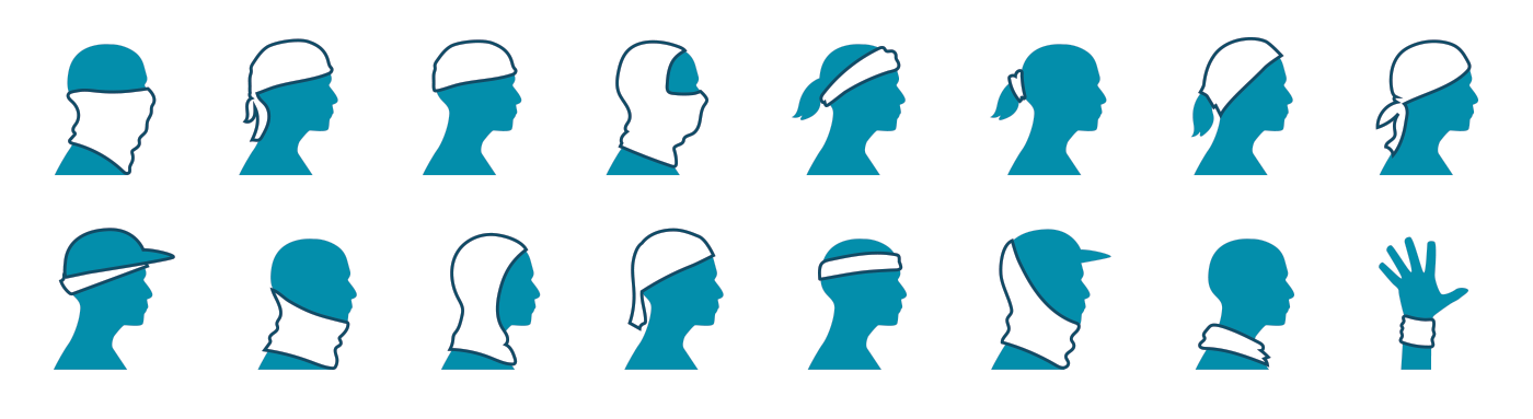 Bandana biking buff headwear hiking icons ILLUSTRATION  pattern trail running trekking