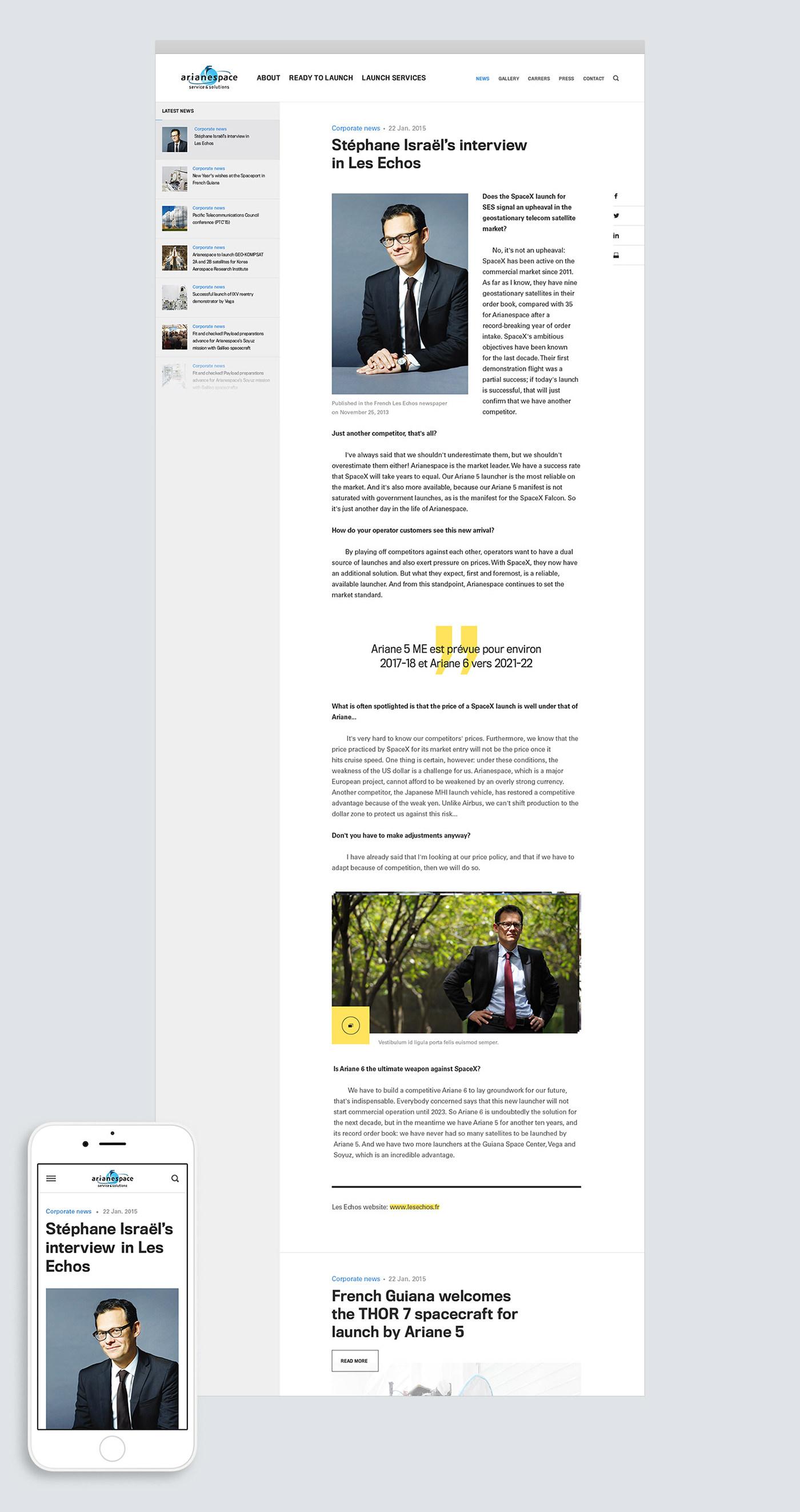 Space  rocket Satelite corporate compagny launcher Ariane Soyuz vega Webdesign Website mobile Responsive