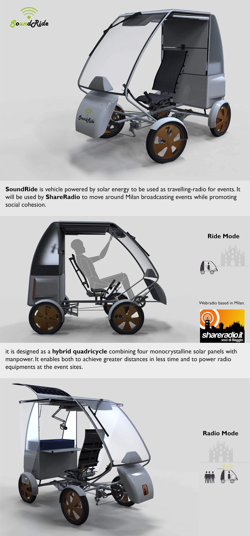 Sustainability renewable quadricycle sustainable mobility Radio solar energy panels