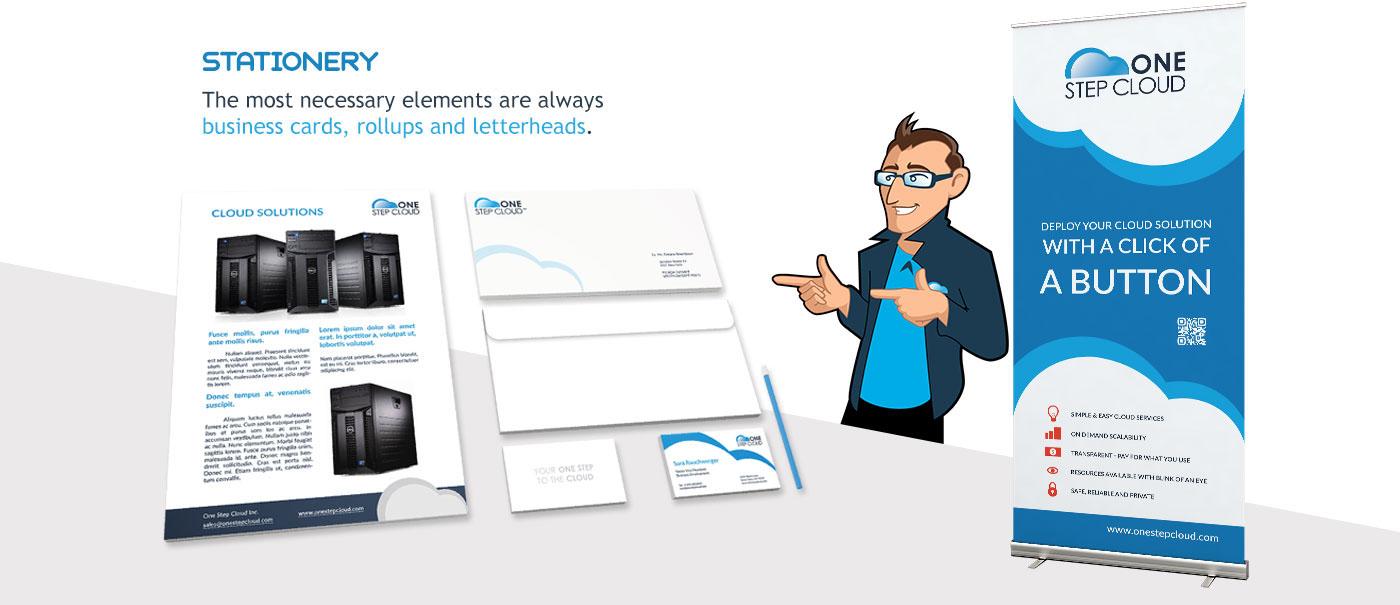 cloud Stationery branding  brand hero brandhero blue design onestepcloud brand book hosting Advertising