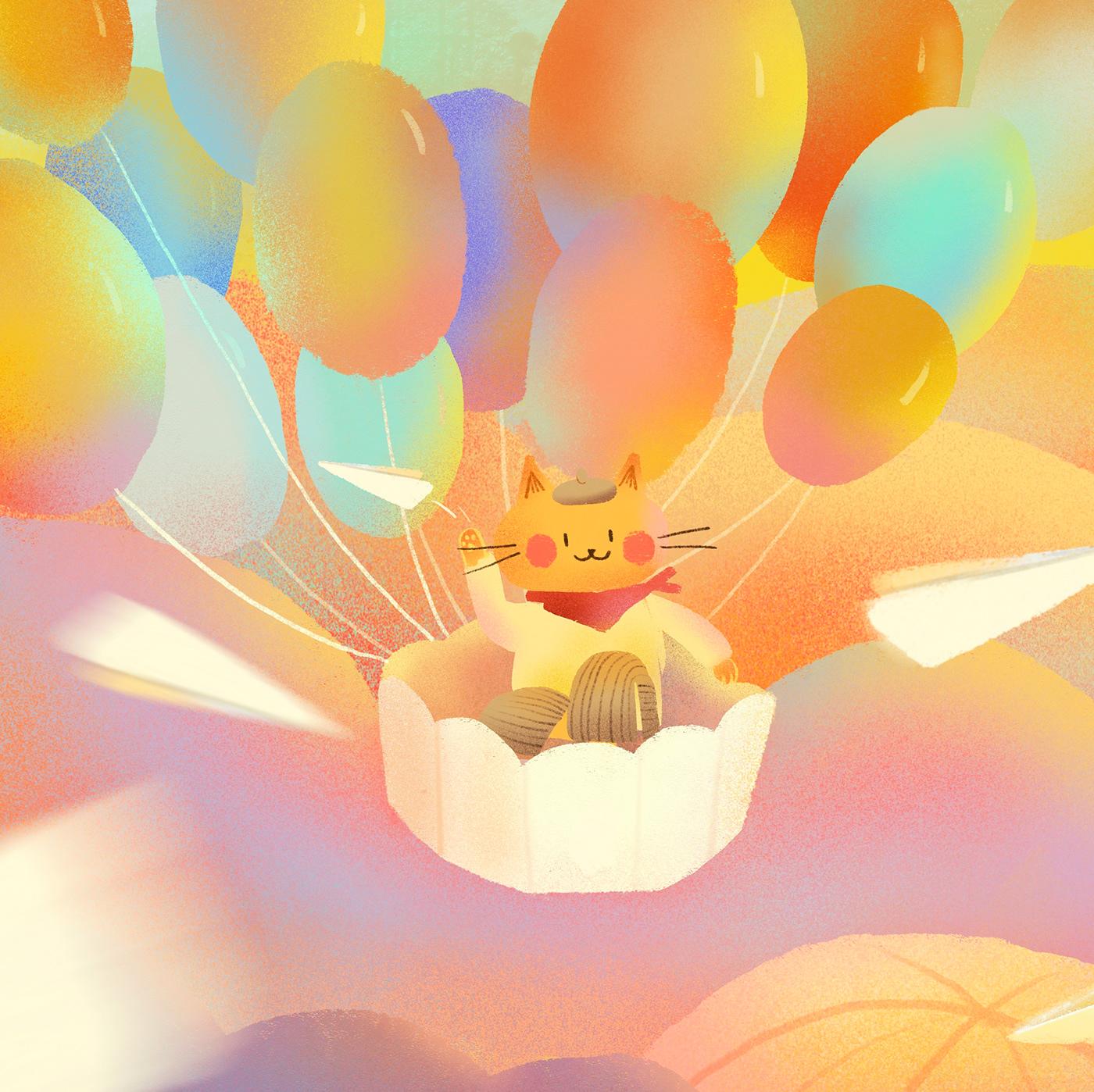 Image may contain: cartoon, hot air balloon and balloon