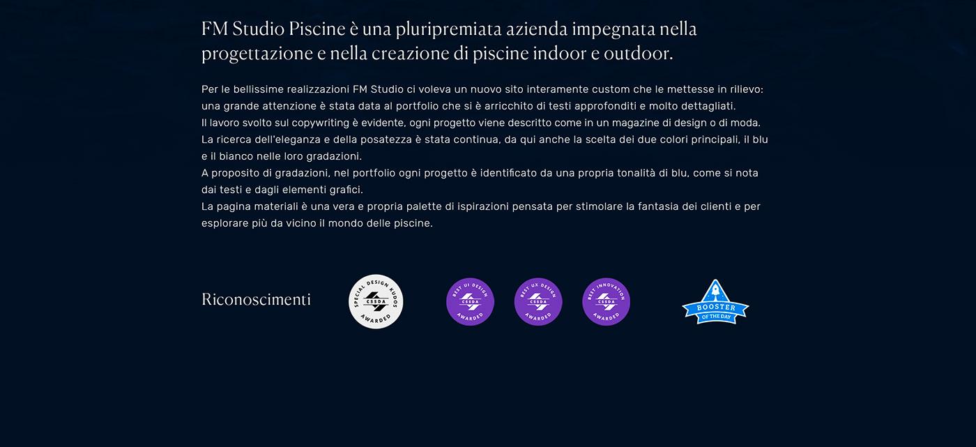 Website portfolio architecture minimal water user interface copywriting  Pool Wellness CSS Design Awards