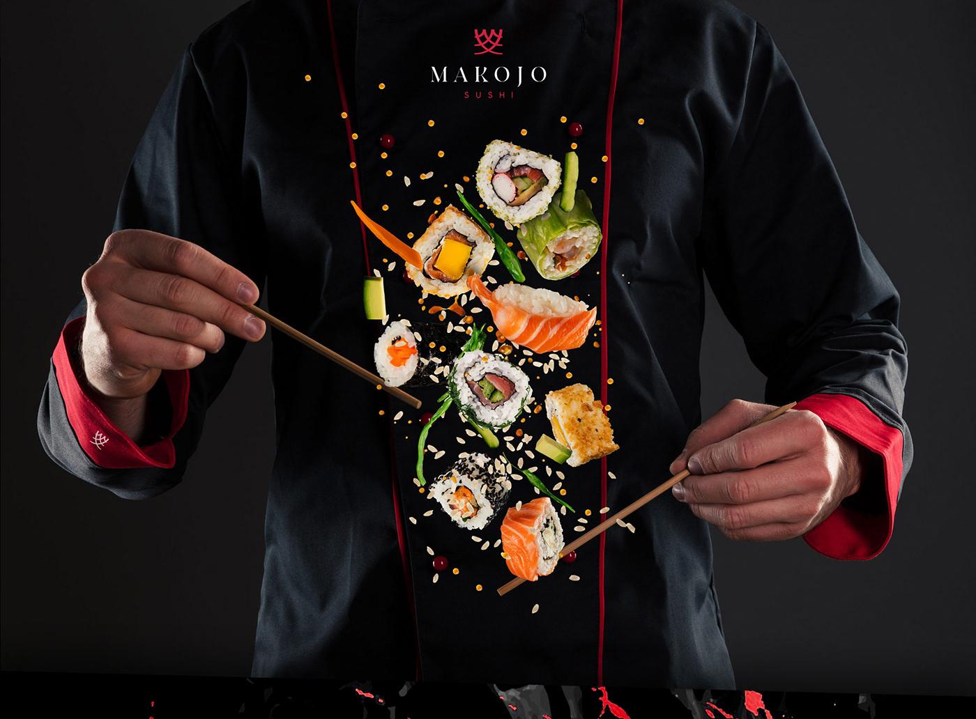 black branding  fresh identity logo minimalistic modern red Sushi White