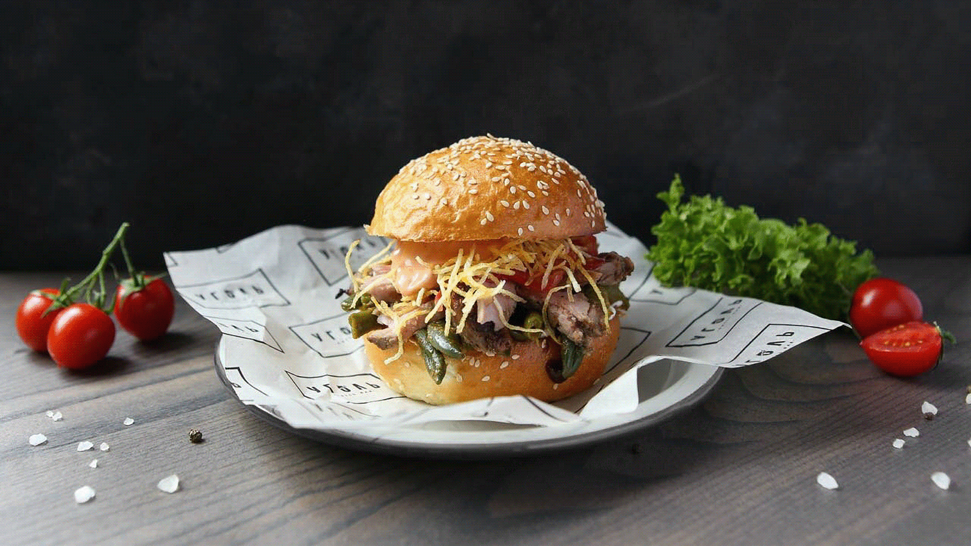 Image may contain: fast food, table and hamburger