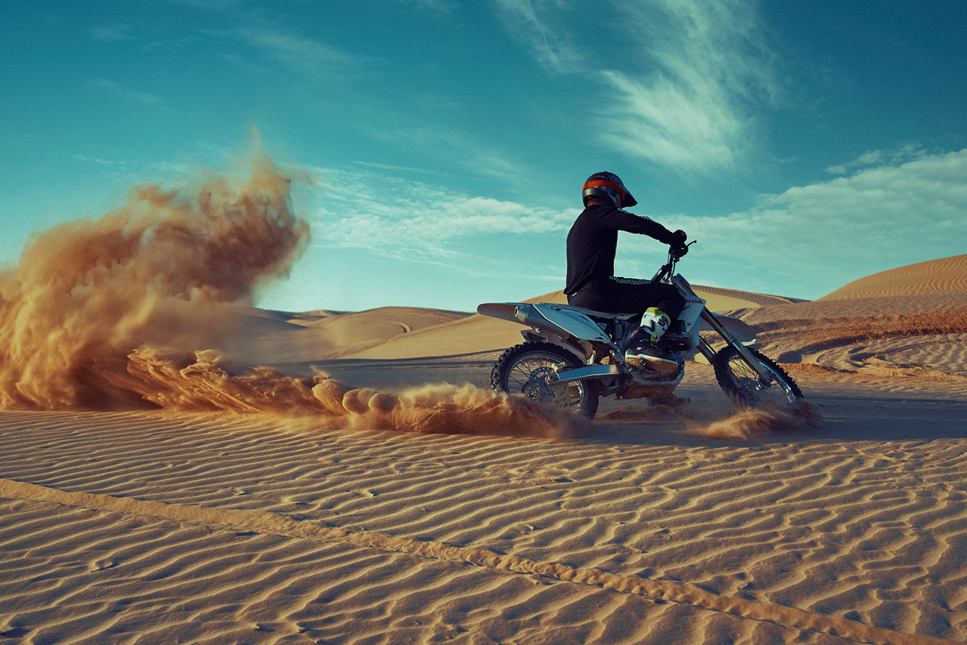 cinematic color grading Creative Retouching dirt bike motor cycle sports dunes l.a. photographer