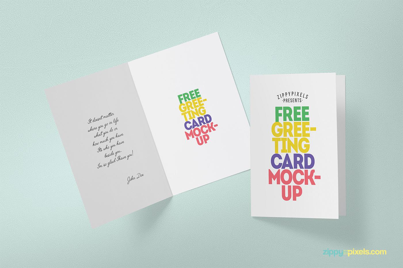 free greeting card mockup on behance
