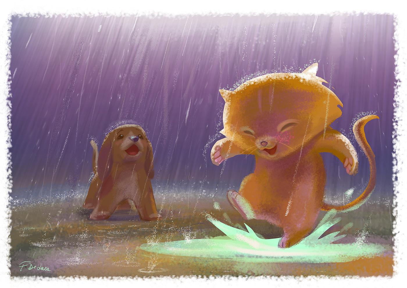 animals kitten lovely rain ILLUSTRATION  pets babies children Character design  Love