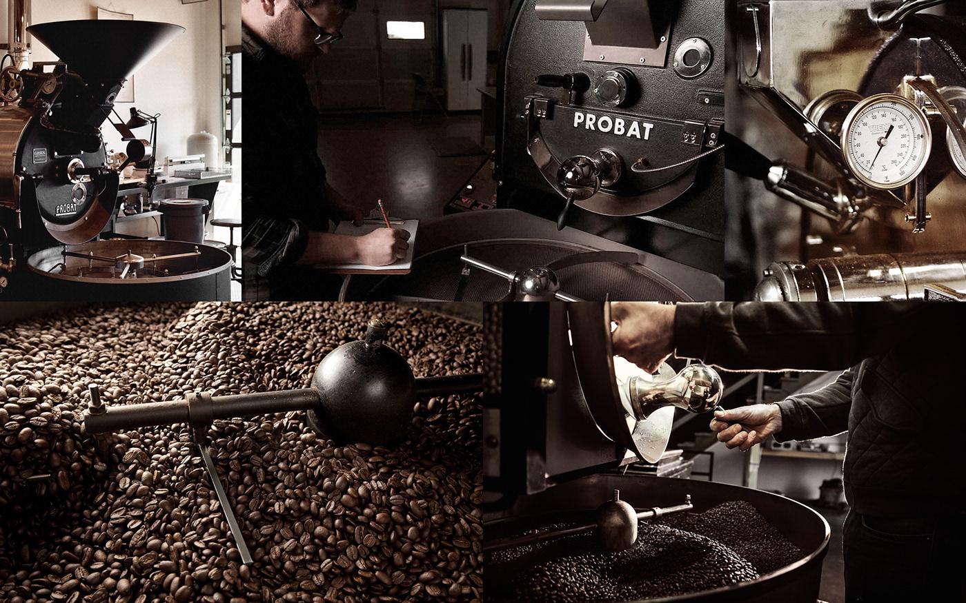 Coffee bean identity copper cylinder tube roasting rotation circle cafe