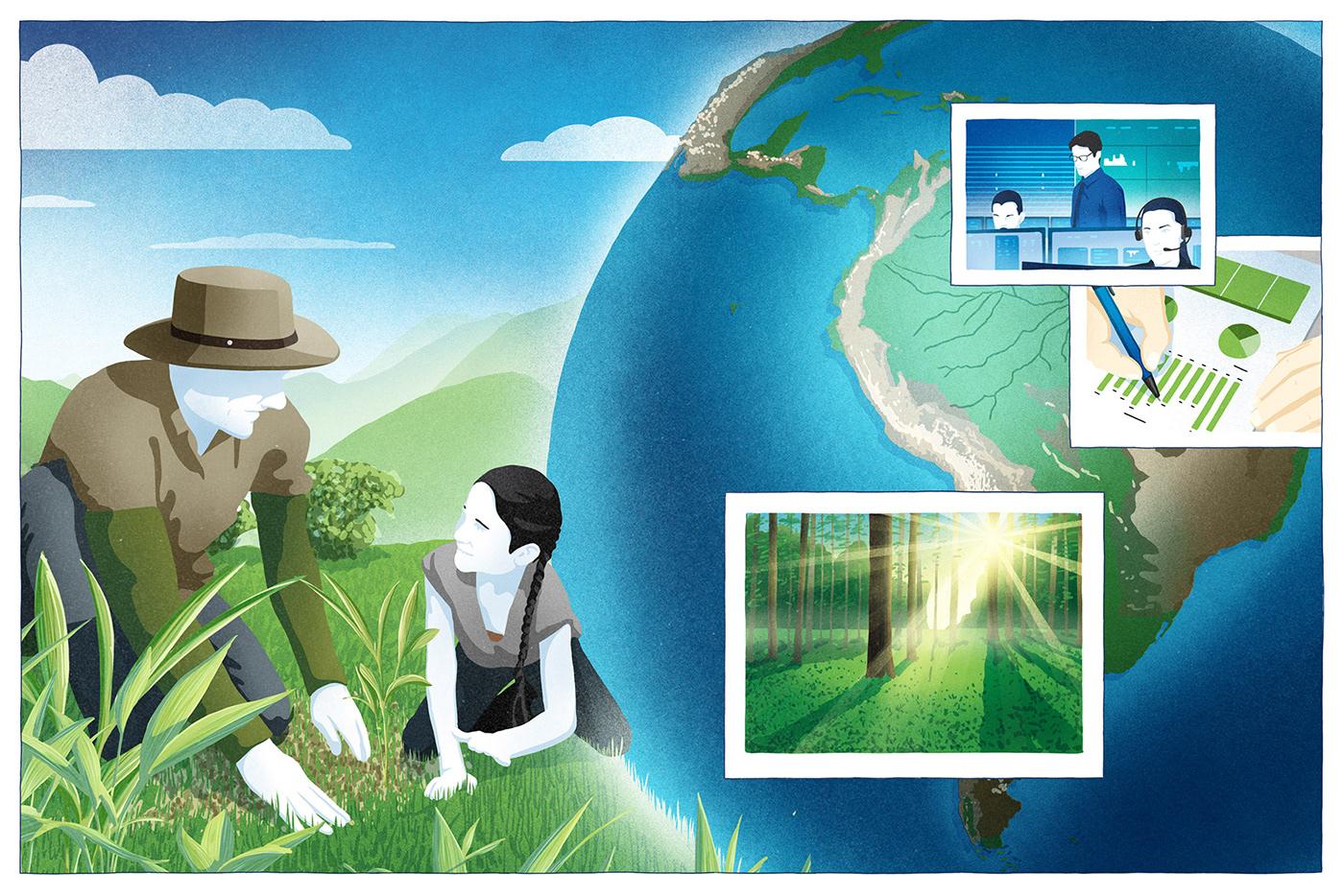 climate change Editorial Illustration flat global warming green magazine minimal Nature report Sustainability