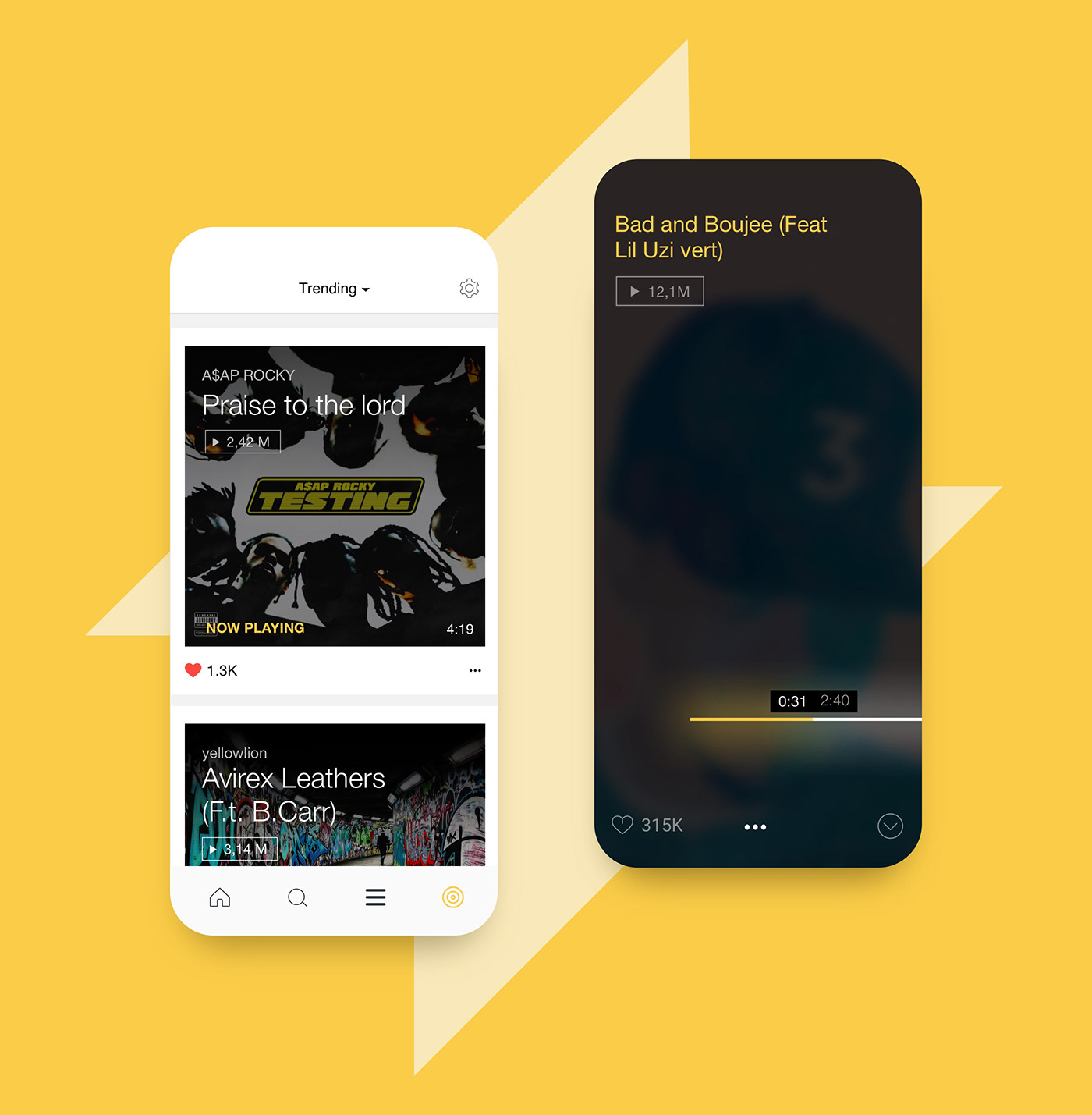 music app design ux/ui user interface yellow player playlists minimalistic clean